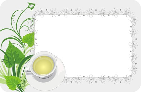 tea trees: Cup with tea on the floral background. Card Illustration