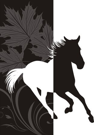 horse riding: Silhouette of hurrying horse on the abstract background