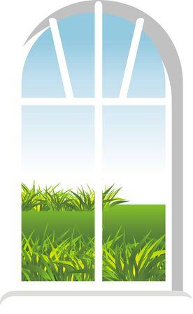 haus garten: Fenster mit einer Art im Garten Illustration