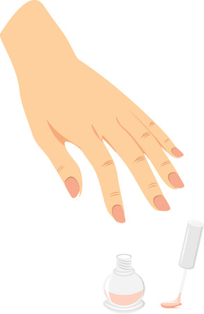 French manicure and nail enamel Vector