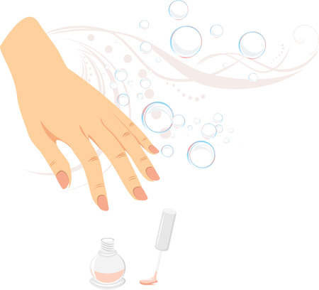French manicure, nail enamel and bubbles Vector