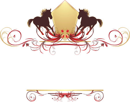 Silhouettes of hurrying horse on the stylish ornament. Element for design Illustration