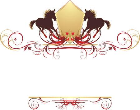 Siluetas de apresuraban caballo sobre el ornamento elegante. Elemento de dise�o  Vectores