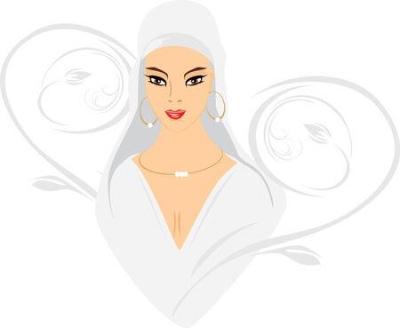 Portrait of east beautiful woman Vector
