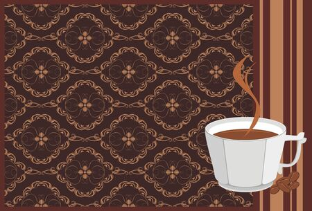 Cup with coffee and corns on the decorative background. Banner Vector