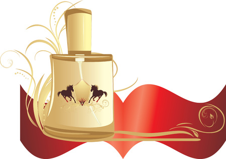 Perfume for men with decorative ornament. Banner Vector