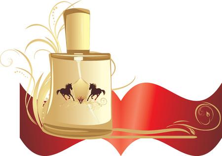 for men: Perfume for men with decorative ornament. Banner Illustration