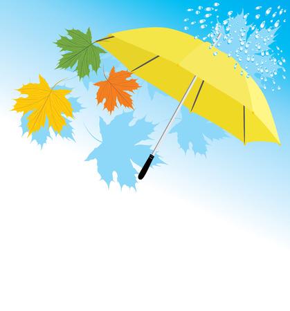 yellow umbrella: Yellow umbrella and maple leaves Illustration