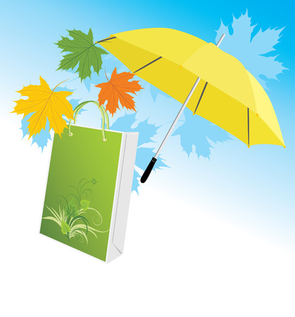 yellow umbrella: Yellow umbrella with package and maple leaves