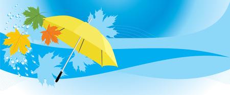 yellow umbrella: Yellow umbrella and maple leaves. Banner