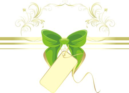 Green bow with card and ornament. Decorative pattern for title Stock Vector - 7614129