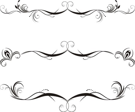 Three decorative floral borders Vector