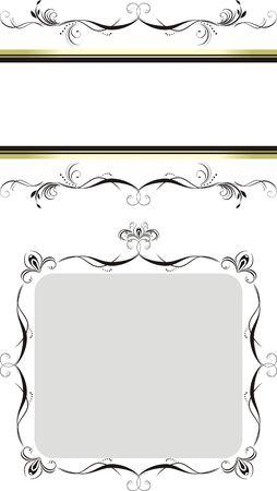 decorative item: Two decorative floral frames Illustration