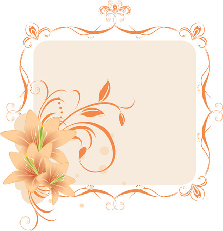 artificial flowers: Lilies in the decorative frame Illustration
