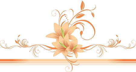 装飾的なボーダーに花飾りユリ