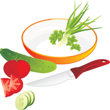 Cutting of vegetables and greenery for lettuce