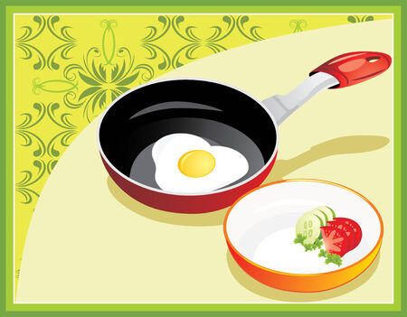 Fried egg on breakfast. Decorative background for menu Stock Vector - 7670137