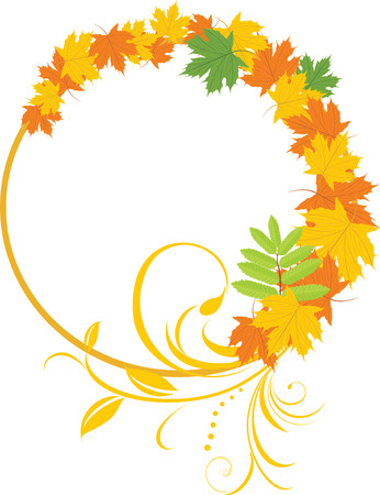 Maple leaves with floral ornament. Decorative frame Illustration