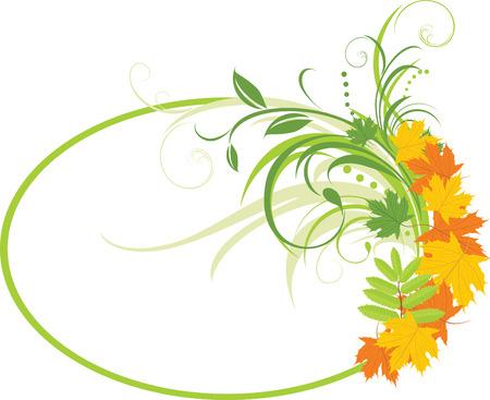 ovalo: Deja el fondo abstracto floral con arce. Marco  Vectores