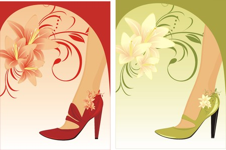 womanish: Stylish female shoes. Two compositions for card Illustration