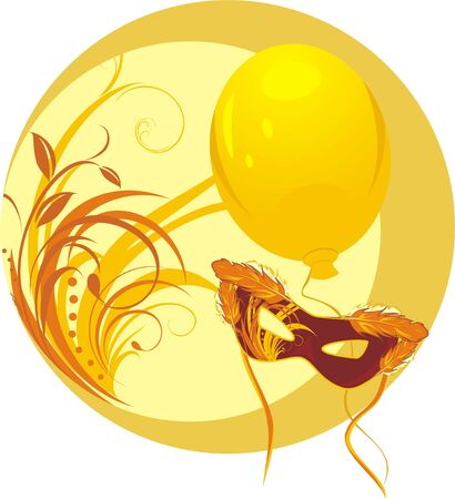Masquerade mask and yellow balloon. Sticker Illustration