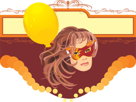 masquerade mask: Woman in masquerade mask and yellow balloon. Title for card Illustration