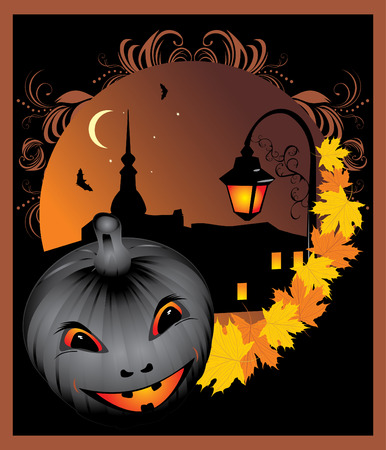 Pumpkin and maple leaves on the background of night city. Halloween Vector