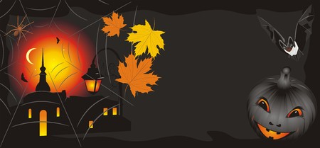 Pumpkin with maple leaves and bat. Halloween banner Vector