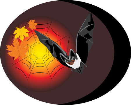 booty: Bat with maple leaves and spider. Halloween. Sticker