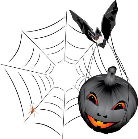 Bat with pumpkin. Halloween Vector