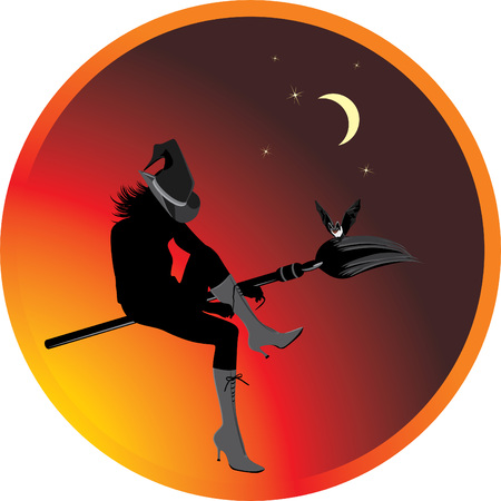 Halloween witch and bat. Sticker Vector