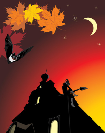 Sitting witch on the roof of castle. Halloween composition Vector
