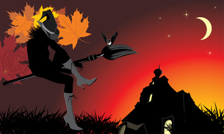 Sitting witch on the broom. Halloween banner Vector