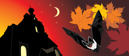 Bat on a background of nightly castle. Halloween banner Vector