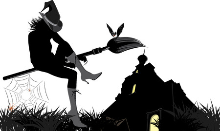 Sitting witch on the broom. Halloween composition Vector