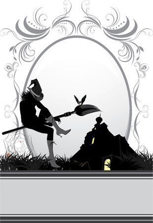 Halloween witch on a background of nightly castle. Card Vector