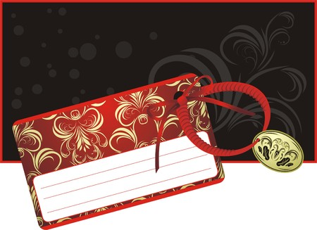 Decorative card with red bow on the black background Vector