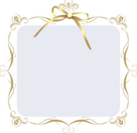 gold bow: Decorative frame with golden bow Illustration