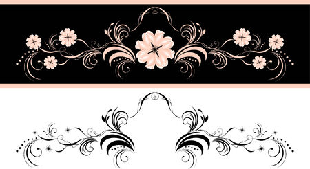 Two decorative floral elements for design Vector