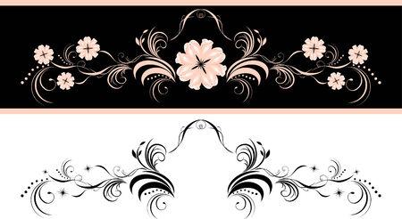 baroque border: Two decorative floral elements for design