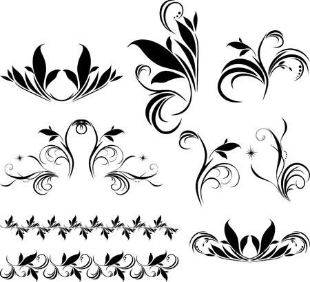Conjunto de elementos decorativos de florales para dise�o