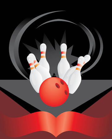 Bowling pins and red ball Vector