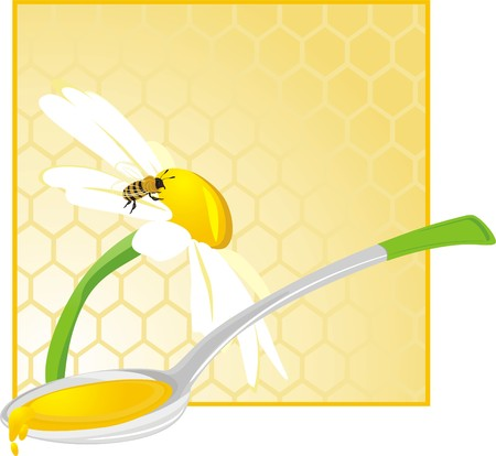 blossom honey: Spoon with floral honey Illustration