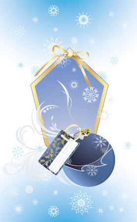 Christmas blue ball on the decorative background with snowflakes Vector