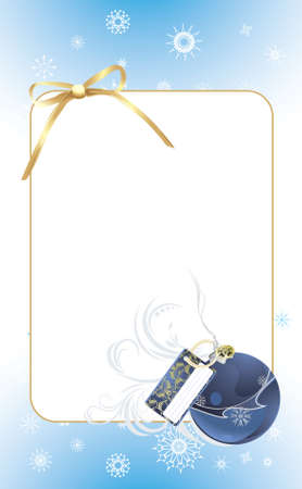 Blue ball with golden bow in the decorative frame. Christmas card Vector
