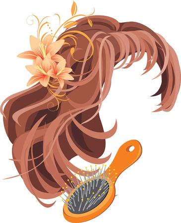 peluca: Peluca y cepillo