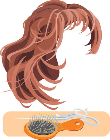 wig: Hair, scissors and hairbrush isolated on the white