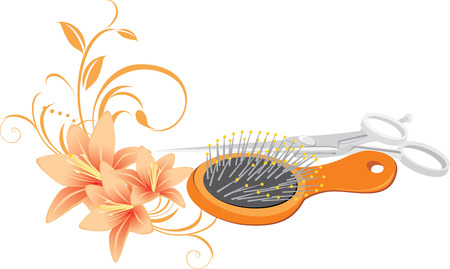 Hairbrush, scissors and bouquet of lilies