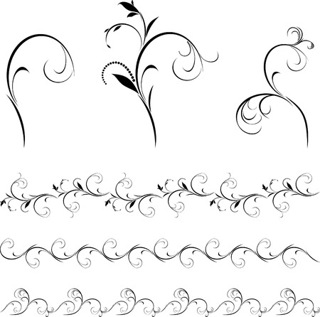 Set of decorative floral elements and borders for design Illustration