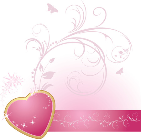 Pink heart with ornament on the decorative ribbon Vector